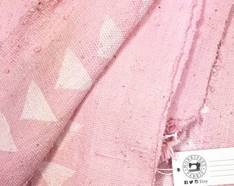 Mud Cloth, Pink Triangle print, Authentic Hand crafted Textile