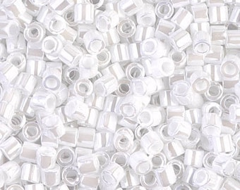 Miyuki Delica 8/0 White Pearl Ceylon DBL0201 Beads - 8.2 grams