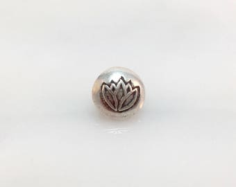 Thai Silver Button 2 Lotus Flower Hand Stamped Karen Hill Tribe Bohemian Finding Jewelry Making Beading Supply Unique Closure Sundance Style