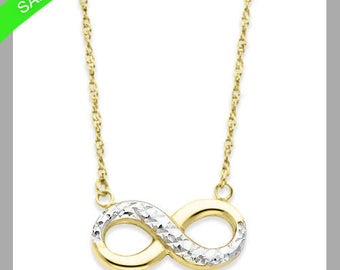 Infinity Love Necklace In 14k Yellow & White Gold Now For Only 129