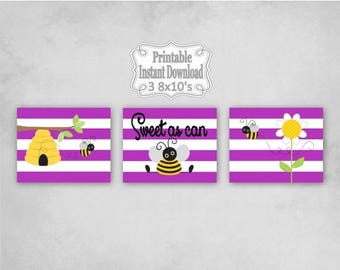 SALE Printable Bumble Bees Baby Nursery Wall Art Decor in Purple Yellow Black Bumblebees Baby Child Kids ~ DIY Instant Download ~ 3 8x10 Pri