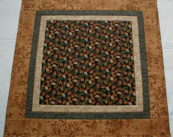 """Elegant Formal Handmade Quilted Square Table Topper, Fall Leaves in Caramel Brown, Tan, and Dark Green, About 22"""" (Topper2149)"""