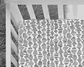 Black and Whtie Crib Sheet, mini stripes, modern, minimalist, black and white nursery, geometric pattern, baby bedding, fitted crib sheet