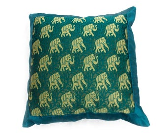 Indian Silk Cushion Cover Home  Elephant Work Decorative Green Color Size 17x17""