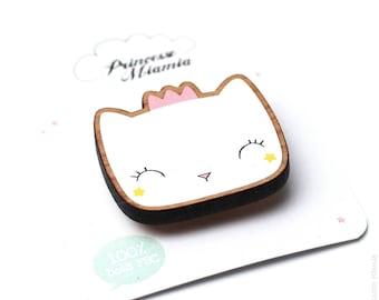 Brooch * Princess stars * / cat / badges / FSC wood