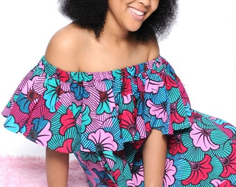 Off The Shoulder Ruffle African Print Summer Dress