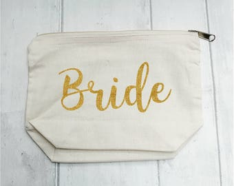 Bride Makeup Bag, wedding accessory, getting ready, personalised bag, bridesmaid gift, stocking filler, custom order text, gift for her,