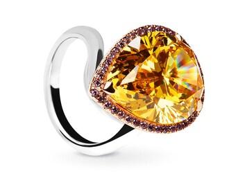 Sparkling Citrine Pear Ring