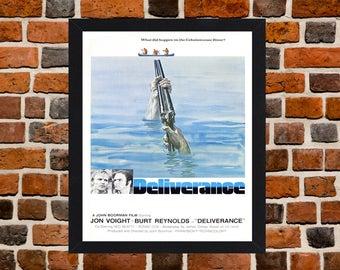 Framed Deliverance Burt Reynolds & Jon Voight Cult Movie / Film Poster A3 Size Mounted In Black Or White Frame (Version - 1)
