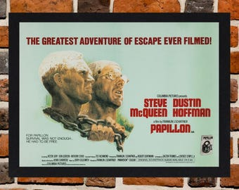 Framed Papillon Steve McQueen Movie / Film Poster A3 Size Mounted In Black Or White Frame (Version -2)