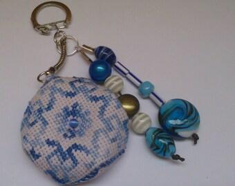 Keychain, bag embroidered 16 hand charm