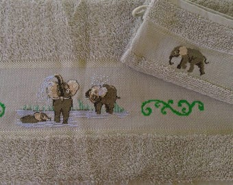 Towel and embroidered elephant hand puppet set