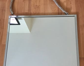 Stylish silver framed rope hanging mirror