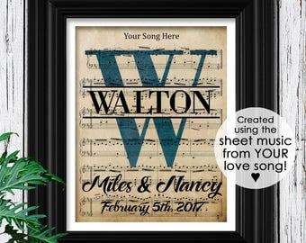 Personalized Sheet Music Art | Velvet Textured Sheet Music Framed | Husband & Wife Wedding Song | Husband Gifts | Couple's Housewarming Gift
