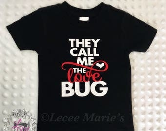 "Valentine's Day, ""Love Bug"" shirt, toddler, boys, valentine shirt,they call me the love bug"