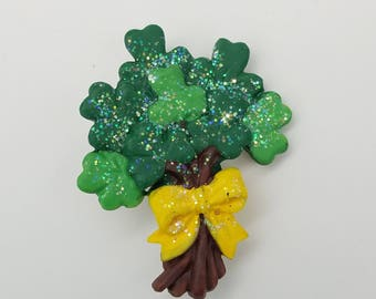Old Stock Resin Bundle of Shamrocks Lapel Pin / Brooch - St. Patrick's Day Jewelry