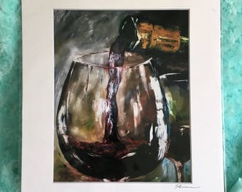 """Just One Glass - 8""""x10"""" Physical Print of Red Wine Glass Oil Painting"""