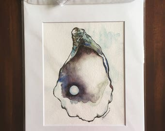 """First Try  - 8""""x10"""" Physical Print of Oyster Shell with Pearl Watercolor Painting"""