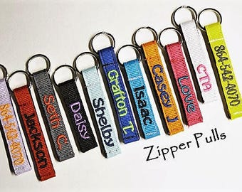 Personalized Zipper Pulls, Pick a Color, Coat/Jacket/Bookbag/Lunch Box IDTags, Made to Order, 3/8""
