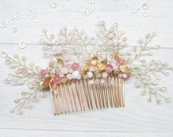 Gift|for|bridal Wedding|gift Bridal hair Comb hair Wedding hair comb Wedding pink Crystal hair Bridal rhinestone Hair rhinestone Bride pink
