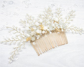 Gift|for|her Gold hair Comb Bridal white Crystal wedding Bridal comb Bridal hair piece Bridal comb pearl Wedding comb Bridal headpiece