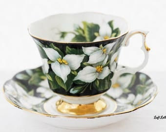 "Royal Albert's Black ""Trillium"" teacup and saucer from the  Provincial Flower-series, c1970s"