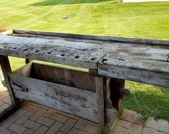 Rustic antique workbench