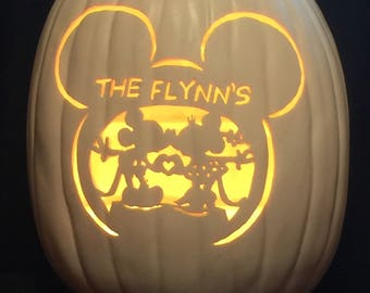 "13"" Soft White Foam pumpkin Mickey and Minnie personalized last name"