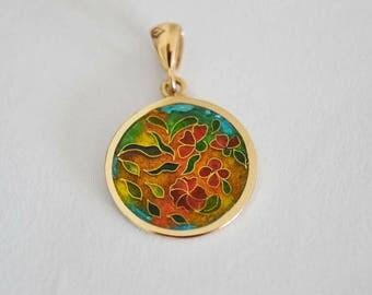 14k gold cloisonne enamel pendant