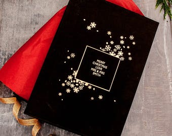Personalised Black and Gold Snowflake Gift Box
