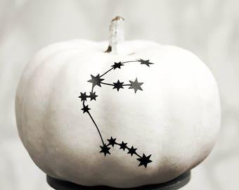 Personalised Zodiac Halloween Pumpkin Sticker