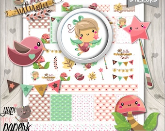 50%OFF - Autumn Stickers, Printable Planner Stickers, Planner Stickers, Fall Stickers, Kawaii Stickers, Fairy Tale Stickers, Stickers