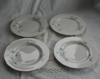 "Vintage Sadler Wellington ""Bluebell"" Design Side Plates x 4"