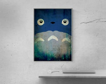 My Neighbor Totoro Poster, Studio Ghibli print, Hayao Miyazaki wall art, home decor, christmas gift, anime baby gift for kids, kids wall art