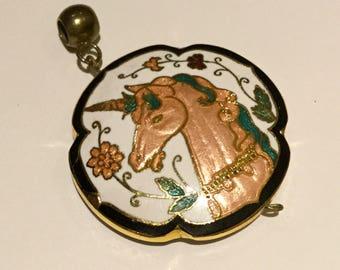 Vintage Cloisonné Unicorn Pendant