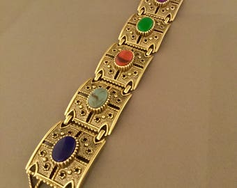 Sara Coventry Bold Link Cabochon Vintage Bracelet