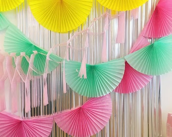 Pink Paper Fan Garland 10ft - honeycomb decor tissue fan bunting - Photo Backdrop wedding baby shower girl flamingo first birthday valentine