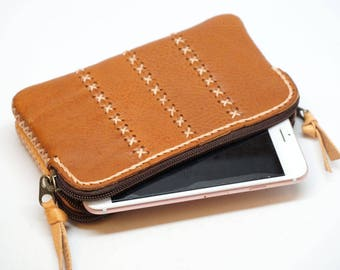 Pencil case leather bag, Leather Phone case and wallet, Leather wristlet clutch phone bag,double pocket wallet,leather Pen case,iphone case,