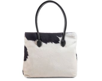 White Cowhide Tote | Exact Bag you Will Receive | Handcrafted in England