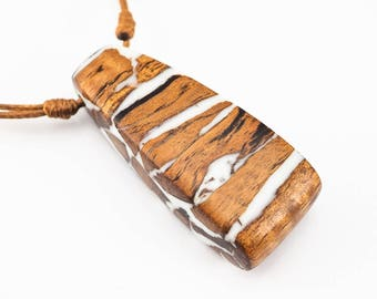 White Resin and Wood Pendant; Wood and Resin Jewelry, Wood and Resin Pendant, Resin Jewelry;Resin