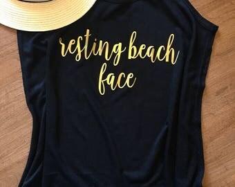 Resting Beach Face - Beach Summer Tank - Beach Shirt - Summer Workout Tank - RBF Tank - Beach Tank