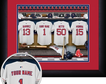 Boston Red Sox MLB Framed Personalized Locker Room Baseball Sports Memorabilia Home Decor 15x18