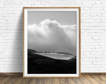 "landscape, black and white photography, large art, printable art, instant download printable art, mountain art - ""Winter Landscape No. 1"""