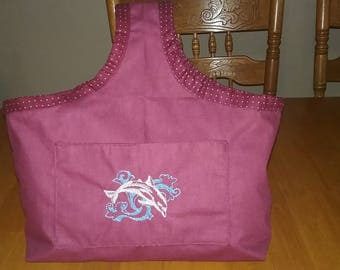 Dolphin Tote Bag, Tote Bag, Burgundy Tote Bag, Dolphin embroidery, Tote Bag w/ two outer pockets