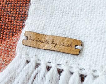 Personalised Knitting tags, Custom Leather tags, Leather labels, Custom leather tags, Personalised leather labels, Personalized leather tags