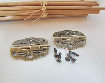 10 hinges + screw for box decoration - 3.1 x 2.2 cm - 4.52