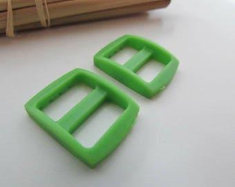 4 loops 2.5 x 2 cm for strap 1.5 cm green plastic - 20.55