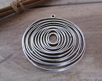 Pendentif spirale infini en ùétal argenté - 4.5 cm - 538.22