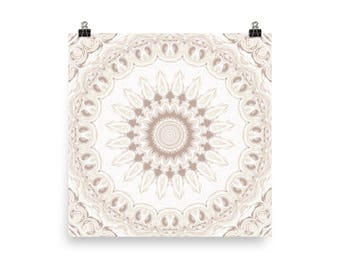 Boho Wall Art, Square Wall Decor, White and Beige Mandala Art Prints, Home Decor Bohemian