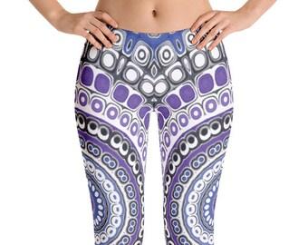 Tribal Style Leggings, Aztec Leggings, Blue and Purple Mandala Leggings, Festival Pants, Yoga Pants, Fashion Tights